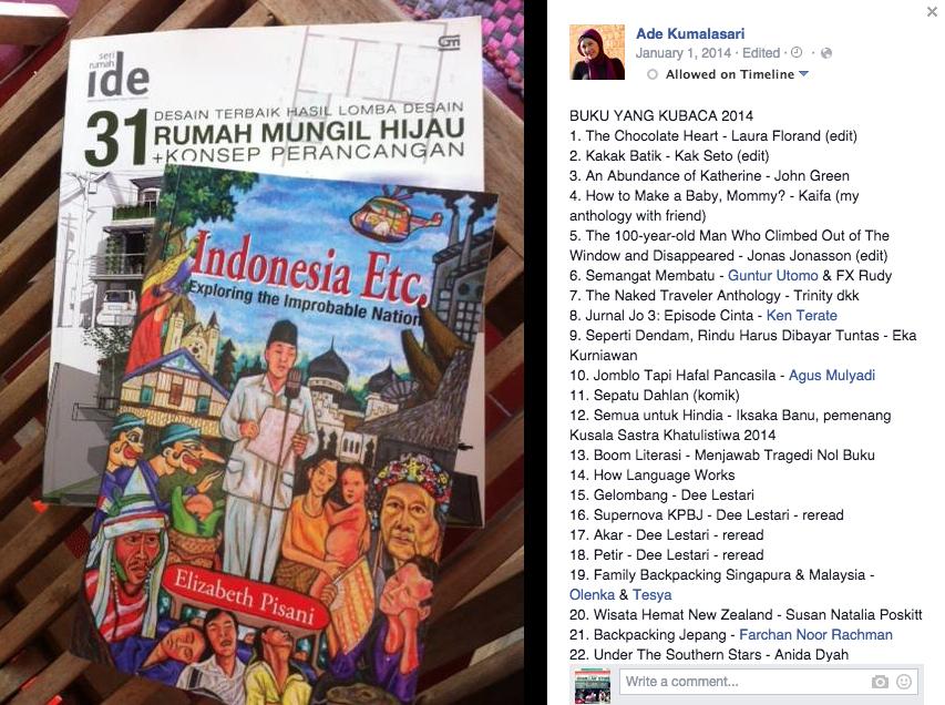 Postingan Mbak Ade Kumalasari mengenai buku yang sudah ia baca selama tahun 2014.